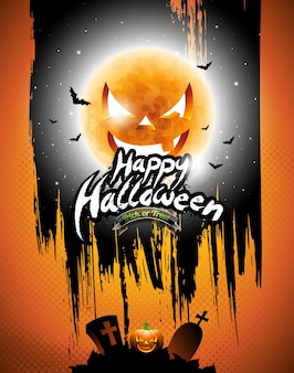 Vector Happy Halloween illustration with black sky and pumpkin moon on orange background.