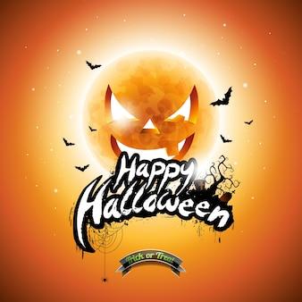 Вектор Счастливый Хэллоуин иллюстрации с типографскими элементами и тыквы Луны на оранжевом фоне.
