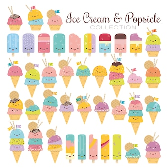 Vector Ice Cream And Popsicle Collection