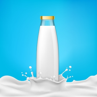 Vector illustration glass bottles with milk or dairy product stands in a milk splash