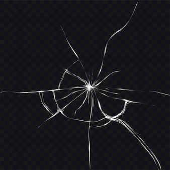 Vector illustration in realistic style of broken, cracked glass