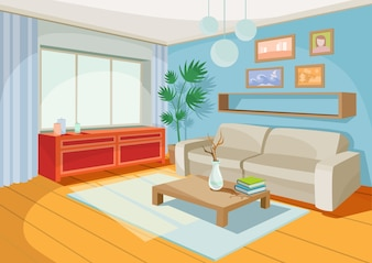 Vector illustration of a cozy cartoon interior of a home room, a living room