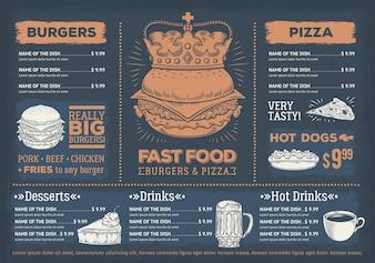 Векторная иллюстрация меню ресторана быстрого питания, кафе с рисованной графикой.