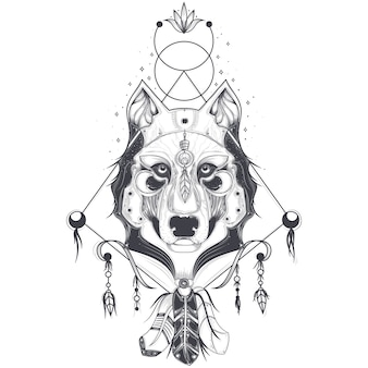 Vector illustration of a front view of a wolf head, geometric sketch of a tattoo