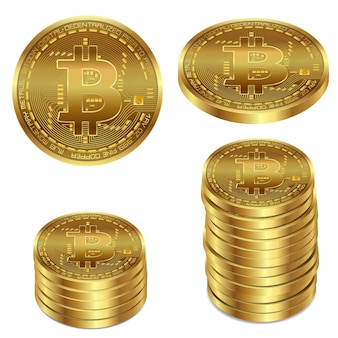 Vector illustration of a golden bitcoin on a white background.