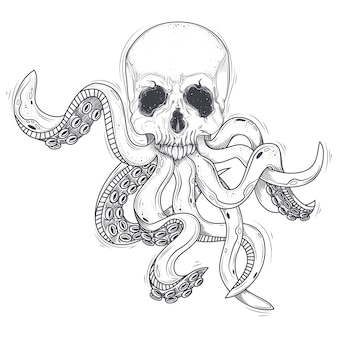 Vector illustration of a human skull with tentacles