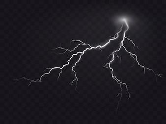 暗い、自然の光の効果に孤立した明るい輝く稲妻の現実的なスタイルのベクトル図。