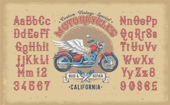 Vector illustration of a red vintage font, the Latin alphabet with retro custom motorcycle