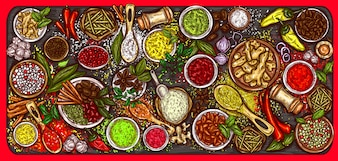 Vector illustration of a variety of spices and herbs on a wooden background