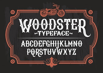 Vector illustration of a vintage font, the Latin alphabet in a retro frame with a custom motorcycle.