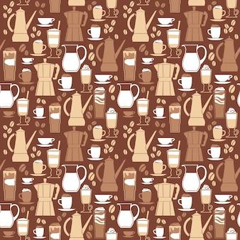コーヒーデザイン要素のベクトル図。シームレスなパターン