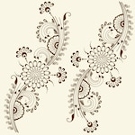 Vector illustration of mehndi ornament Traditional indian style, ornamental floral elements for henna tattoo, stickers, mehndi and yoga design, cards and prints Abstract floral vector illustration