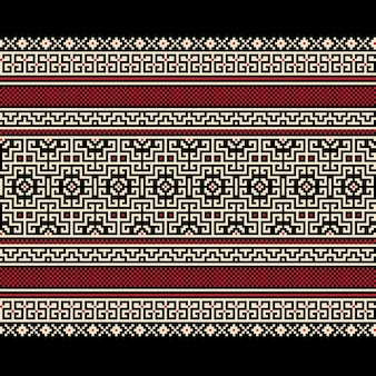 ウクライナの民間のシームレスなパターンの装飾のベクトル図。エスニック飾り。境界要素。伝統的なウクライナ語、ベラルーシ語の民族芸術ニット刺繍パターン -  Vyshyvanka