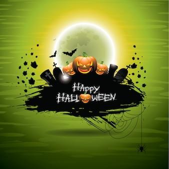 Vector illustration on a Halloween theme on green background