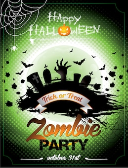Vector illustration on a Halloween Zombie Party theme on green background.