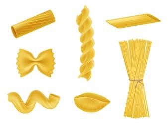 乾燥したマカロニの現実的なアイコンのベクトル図セット、様々な種類のパスタ