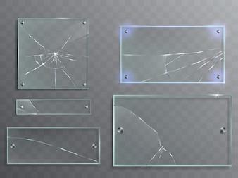 Vector illustration set of transparent glass plates with cracks, cracked panels