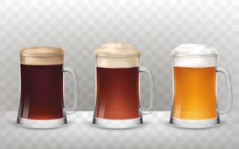 Vector illustration three glass beer mugs with a different beer isolated on a transparent background