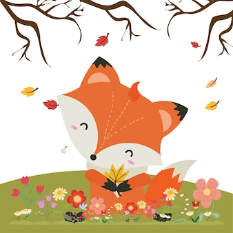 Vector illustration with cute fox and floral elements, autumn