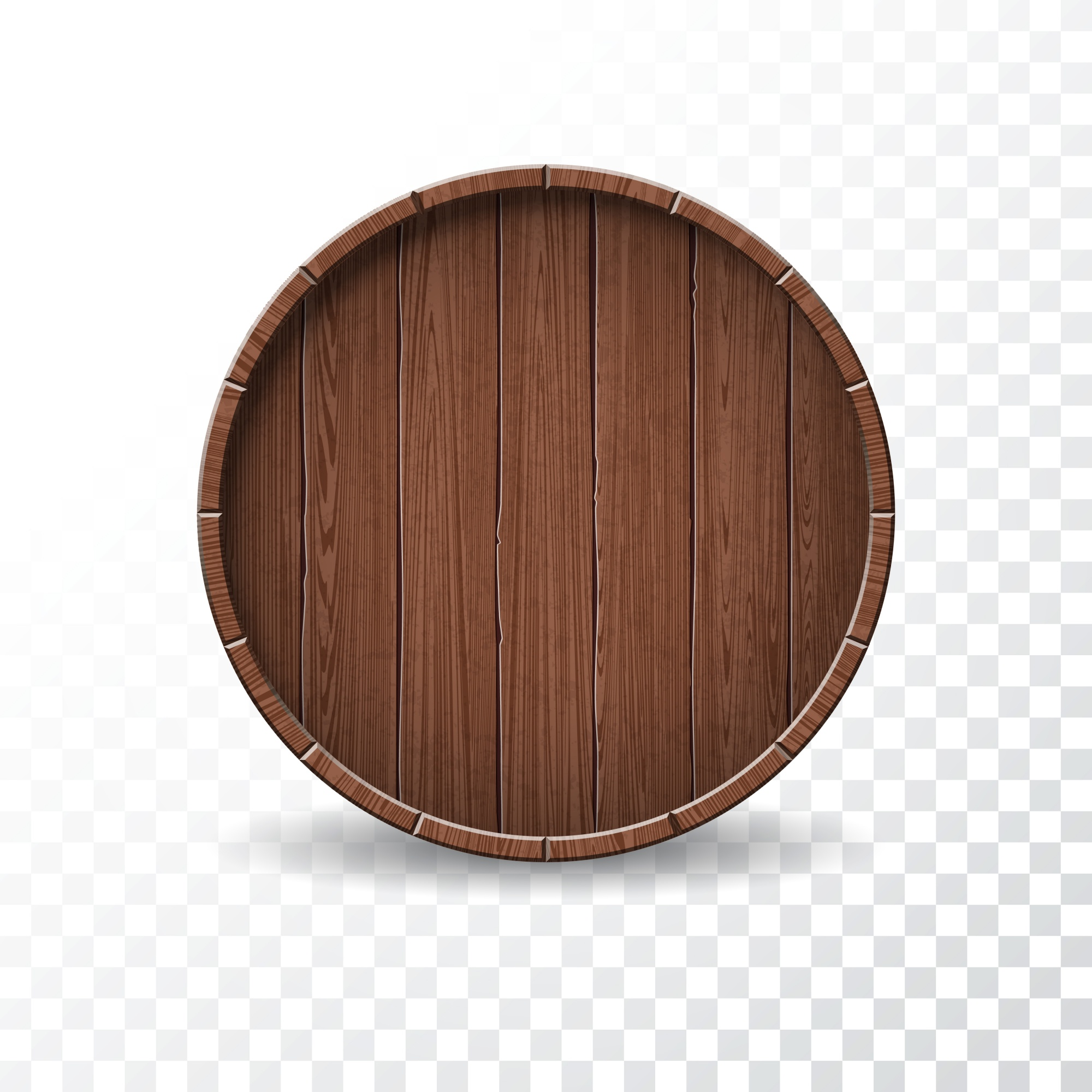 Vector illustration with isolated Wood Barrel on transparent background.