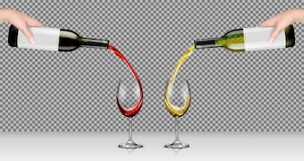 Vector illustrations of hands holding glass bottles with white and red wine and pour it into transparent glasses