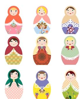 Vector illustrations of russian dolls set of clip art