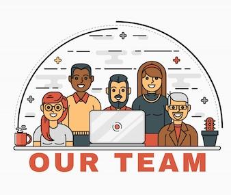 Vector line art illustration of a business team