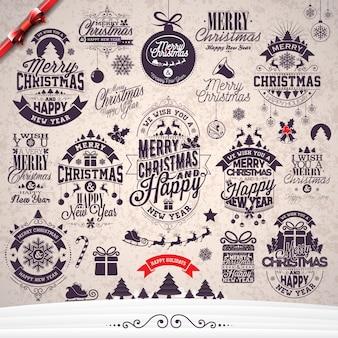 ベクトルメリークリスマス休日と冬の風景の背景に設定された印刷デザインとハッピーニューイヤーのイラスト。
