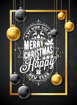 Vector Merry Christmas Illustration on Black Snowflake Texture Background