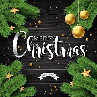 ヴィンテージの木の背景にベクトルメリークリスマスのイラスト
