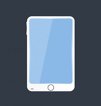 Vector mobile icon and glossy. blue screen
