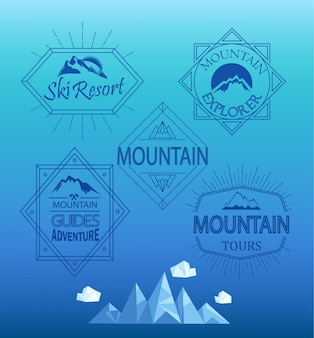 Vector mountain logos and emblems.