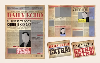 Vector old daily newspaper template, tabloid, layout posting reportage