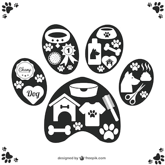Vector pet icons paw design