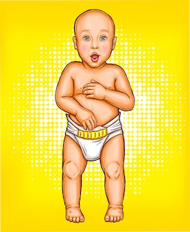 Vector pop art illustration of a surprised baby with open mouth in a diaper