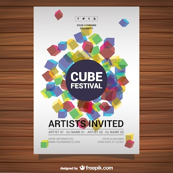 Vector poster free download cube design