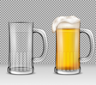 Vector realistic illustration of two transparent glass mugs - one full of beer with foam, the other is empty.