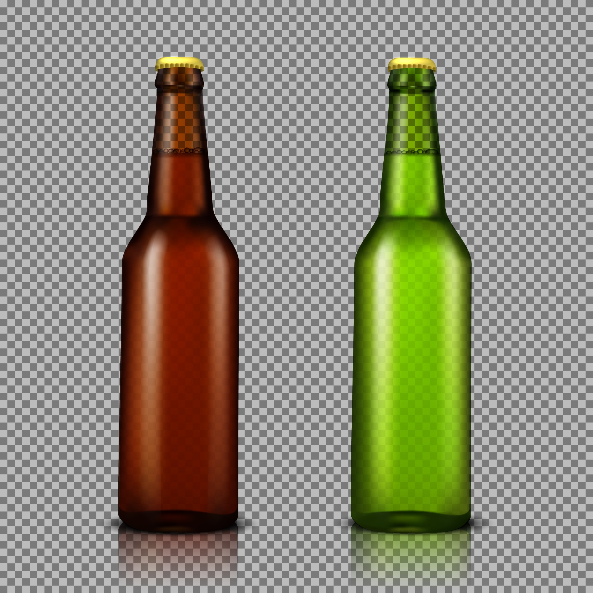 Vector realistic illustration set of transparent glass bottles with drinks, ready for branding