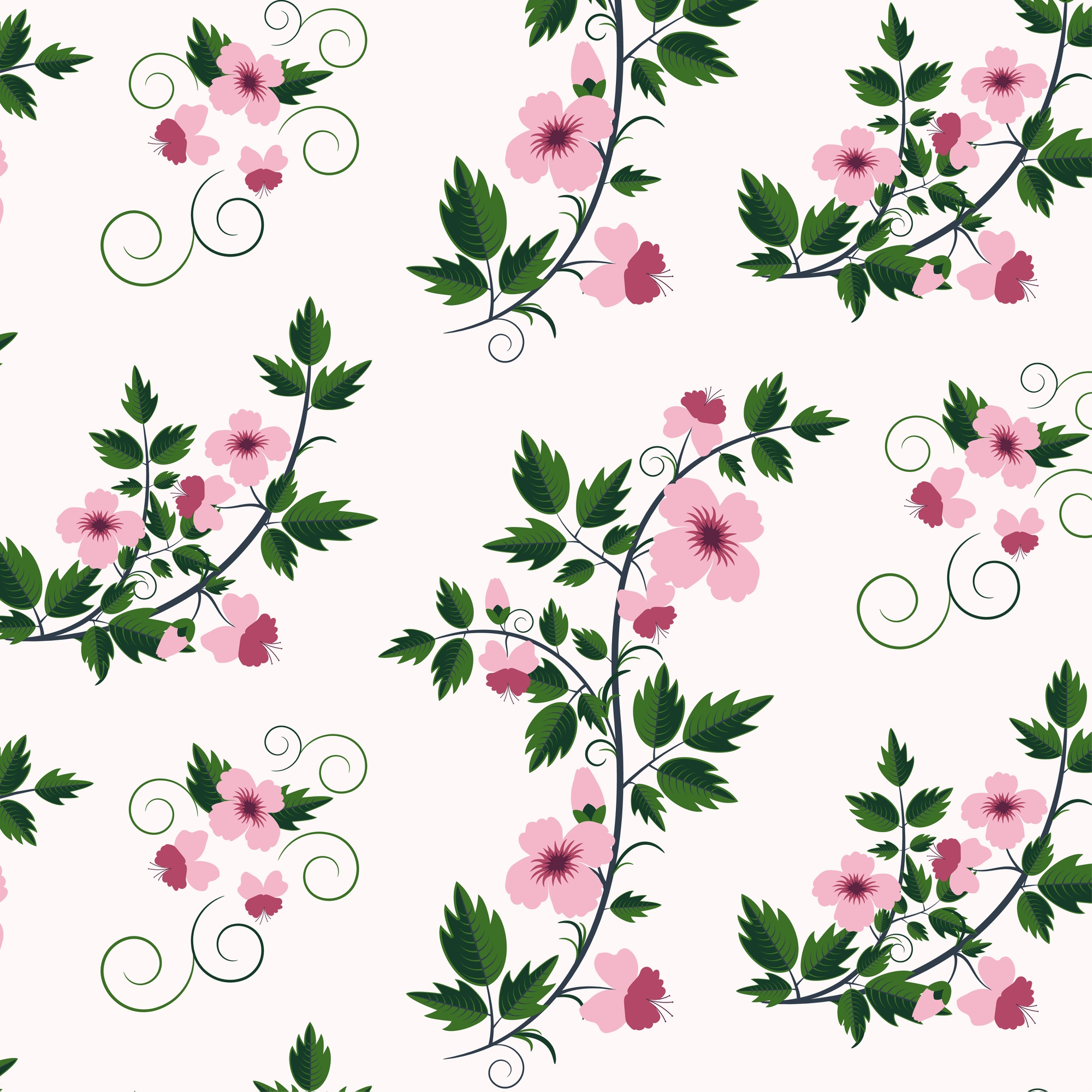 Vector retro floral pattern with flowers