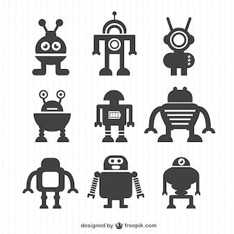 Vector robot silhouettes collection
