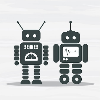 Vector robot silhouettes pack