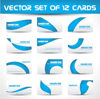 Vector set of 12 business cards