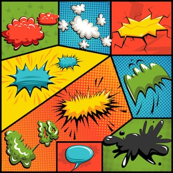 Vector set of comics explosion bubbles