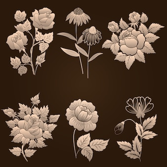 ダマスカスの装飾的な要素のベクトルセット。デザインのエレガントな花の抽象的な要素。招待状、カードなどに最適です