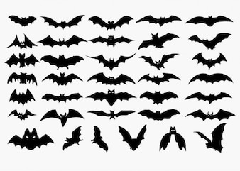 vector set of halloween bat silhouette