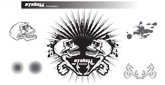 Vector Skull with Sunburst