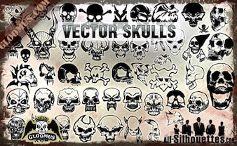 Vector Skulls Clipart Silhouettes