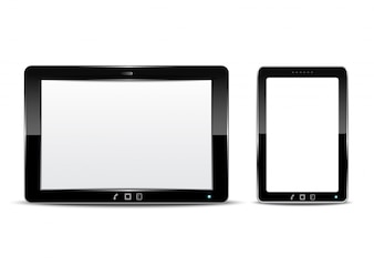 Vector tablet computer and smartphone with isolated background