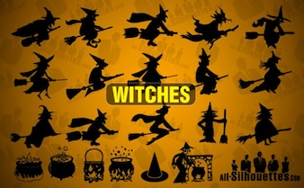 Vector Witches Silhouettes