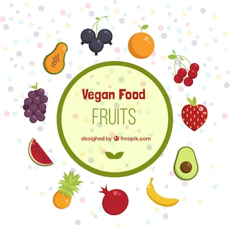 Vegan food and fruits